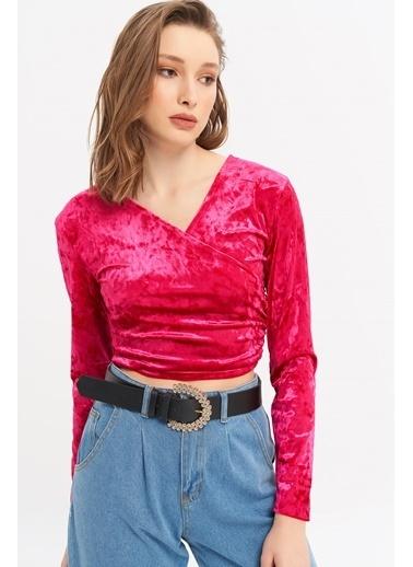 ESQ Kadife V Yaka Bluz Fuşya